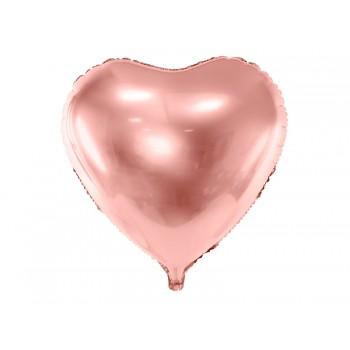 Balon foliowy metalizowany różowe złoto Serce 45cm