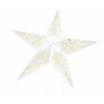 Witraż 45cm - świecący lampion Gwiazda z brokatem