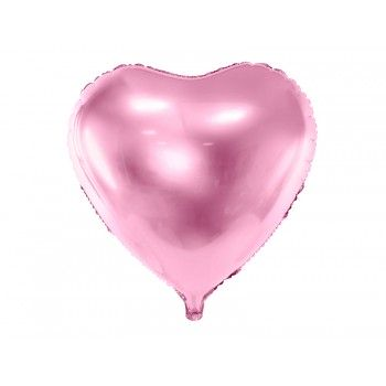 Balon foliowy metalizowany jasny róż Serce 45cm