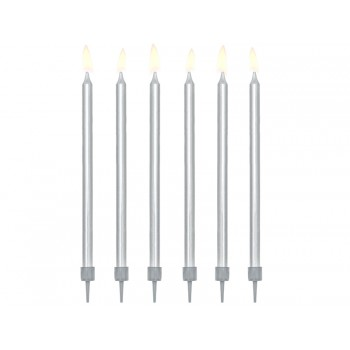 Świeczki urodzinowe gładkie kolor srebrny metalizowany 12szt