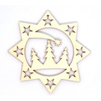 Zawieszka drewniana Gwiazdka 9,5cm