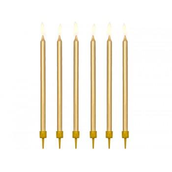 Świeczki urodzinowe gładkie kolor złoty metalizowany 12szt