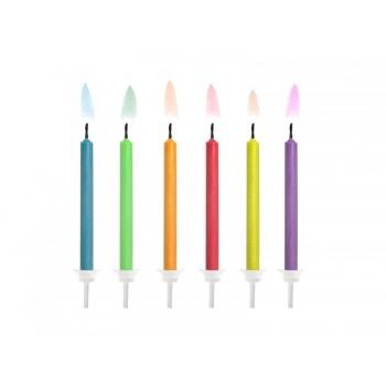 Świeczki urodzinowe z kolorowymi płomieniami 6szt