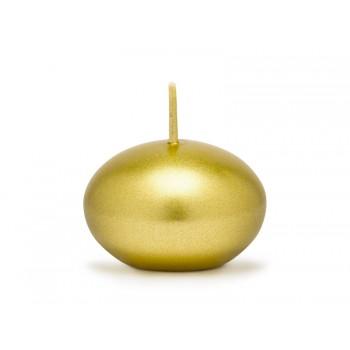 Świeca 4cm pływająca metalizowana - złota