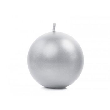 Świeca 6cm metalizowana - srebrna