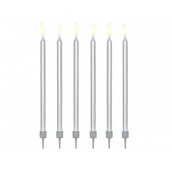Świeczki urodzinowe gładkie kolor srebrny metalizowany 6szt