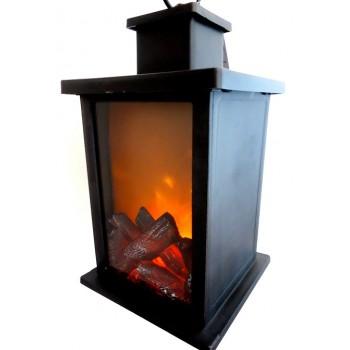 KOMINEK LED czarny lampion - imitacja ognia