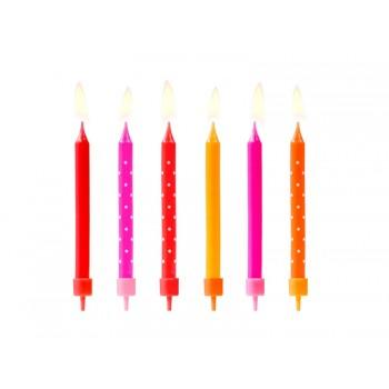 Świeczki urodzinowe kolorowe 6szt