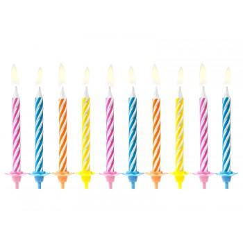 Świeczki urodzinowe kolorowe 10szt