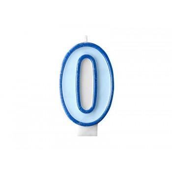 """Świeczka urodzinowa niebieska cyfra """"0"""" 7cm"""