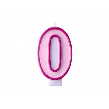 """Świeczka urodzinowa różowa cyfra """"0"""" 7cm"""