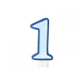 """Świeczka urodzinowa niebieska cyfra """"1"""" 7cm"""