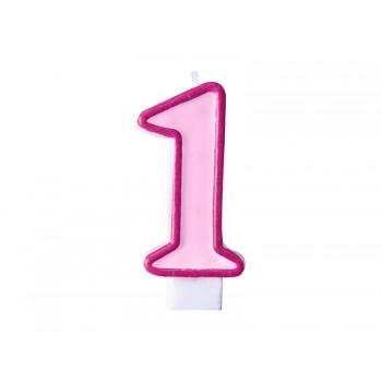 """Świeczka urodzinowa różowa cyfra """"1"""" 7cm"""