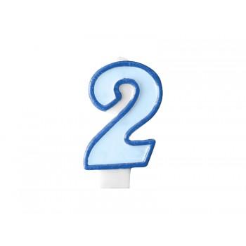 """Świeczka urodzinowa niebieska cyfra """"2"""" 7cm"""