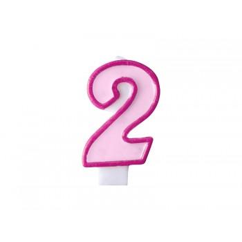 """Świeczka urodzinowa różowa cyfra """"2"""" 7cm"""