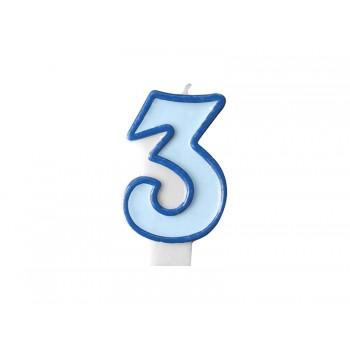 """Świeczka urodzinowa niebieska cyfra """"3"""" 7cm"""