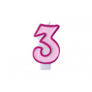 """Świeczka urodzinowa różowa cyfra """"3"""" 7cm"""