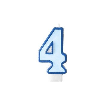 """Świeczka urodzinowa niebieska cyfra """"4"""" 7cm"""