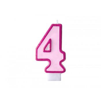 """Świeczka urodzinowa różowa cyfra """"4"""" 7cm"""