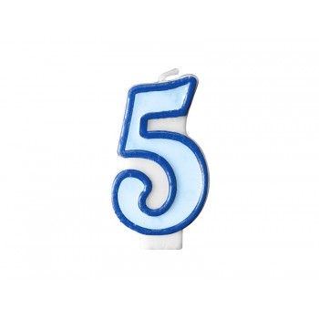 """Świeczka urodzinowa niebieska cyfra """"5"""" 7cm"""