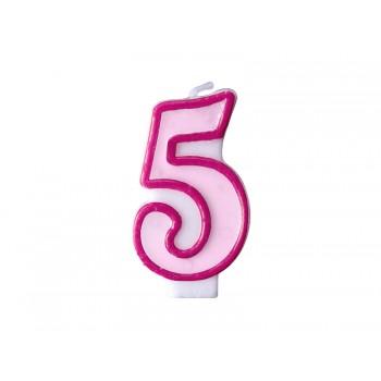 """Świeczka urodzinowa różowa cyfra """"5"""" 7cm"""