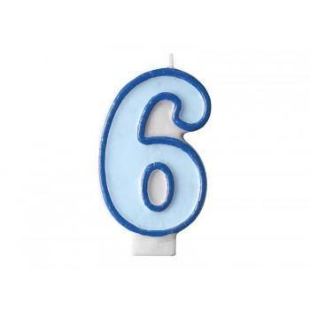 """Świeczka urodzinowa niebieska cyfra """"6"""" 7cm"""