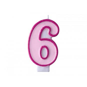 """Świeczka urodzinowa różowa cyfra """"6"""" 7cm"""