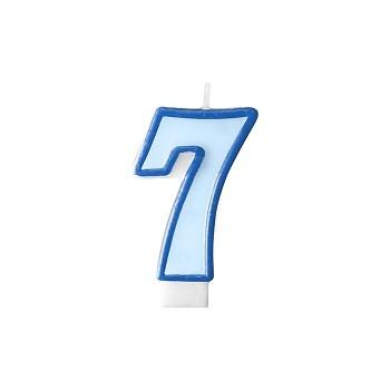 """Świeczka urodzinowa niebieska cyfra """"7"""" 7cm"""