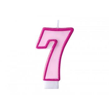 """Świeczka urodzinowa różowa cyfra """"7"""" 7cm"""