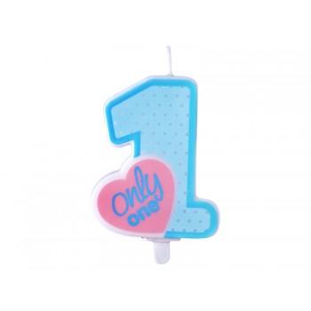 Świeczka urodzinowa błękitna Only One 8cm