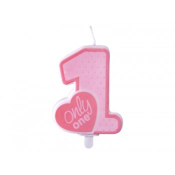 Świeczka urodzinowa różowa Only One 8cm