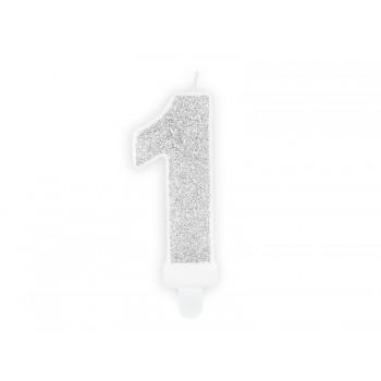 """Świeczka urodzinowa brokatowa srebrna cyfra """"1"""" 7cm"""