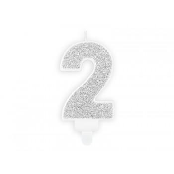 """Świeczka urodzinowa brokatowa srebrna cyfra """"2"""" 7cm"""