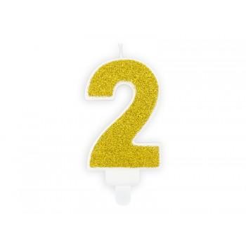 """Świeczka urodzinowa brokatowa złota cyfra """"2"""" 7cm"""