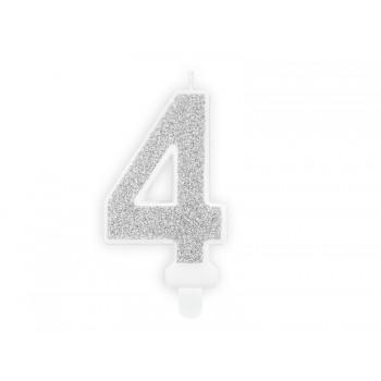 """Świeczka urodzinowa brokatowa srebrna cyfra """"4"""" 7cm"""