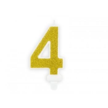 """Świeczka urodzinowa brokatowa złota cyfra """"4"""" 7cm"""