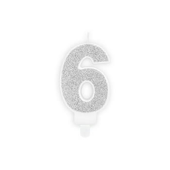 """Świeczka urodzinowa brokatowa srebrna cyfra """"6"""" 7cm"""