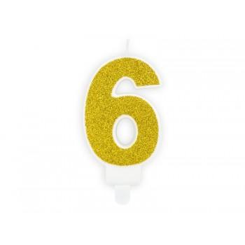 """Świeczka urodzinowa brokatowa złota cyfra """"6"""" 7cm"""