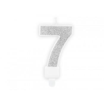 """Świeczka urodzinowa brokatowa srebrna cyfra """"7"""" 7cm"""