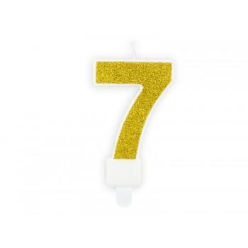"""Świeczka urodzinowa brokatowa złota cyfra """"7"""" 7cm"""