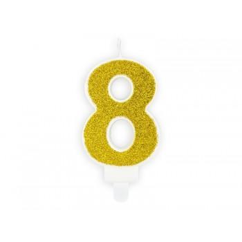 """Świeczka urodzinowa brokatowa złota cyfra """"8"""" 7cm"""