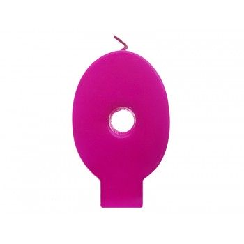 """Świeczka urodzinowa różowa cyfra """"0"""" 6,5cm"""