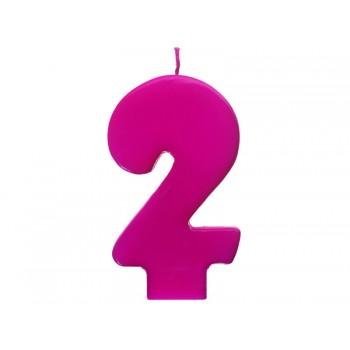 """Świeczka urodzinowa różowa cyfra """"2"""" 6,5cm"""
