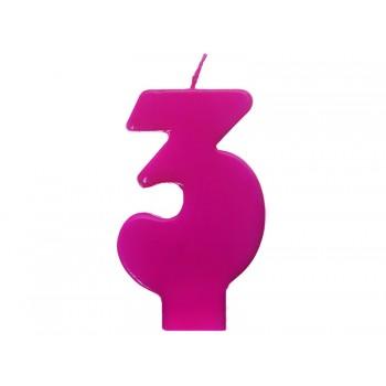 """Świeczka urodzinowa różowa cyfra """"3"""" 6,5cm"""