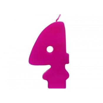 """Świeczka urodzinowa różowa cyfra """"4"""" 6,5cm"""