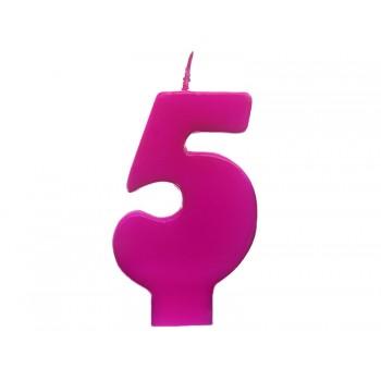 """Świeczka urodzinowa różowa cyfra """"5"""" 6,5cm"""