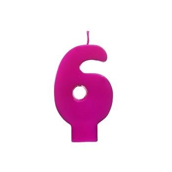 """Świeczka urodzinowa różowa cyfra """"6"""" 6,5cm"""