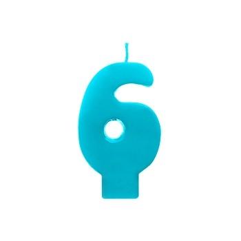 """Świeczka urodzinowa turkusowa cyfra """"6"""" 6,5cm"""