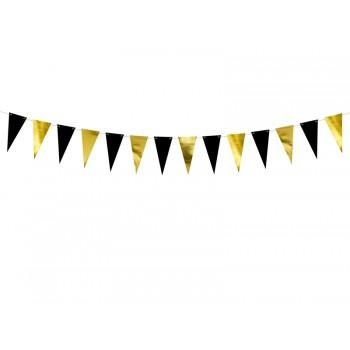 Girlanda papierowa Flagietki Flagi złoty i czarny 2,15 m