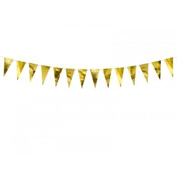 Girlanda papierowa Flagietki Flagi złoty 2,15 m